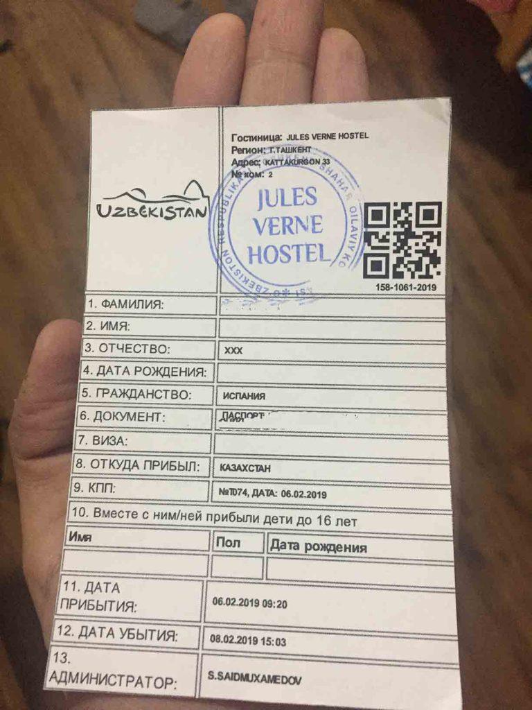 Registro alojamiento uzbekistan